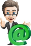 Vector Business Man Cartoon Character Design - Email