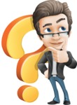 Vector Business Man Cartoon Character Design - Handsome man vector character question mark