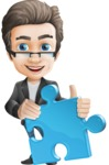 Vector Business Man Cartoon Character Design - Puzzle