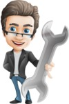 Vector Business Man Cartoon Character Design - Handsome man vector character repair tool