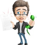Vector Business Man Cartoon Character Design - Office Fever