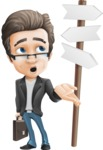 Vector Business Man Cartoon Character Design - Crossroad