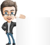 Vector Business Man Cartoon Character Design - Sign8