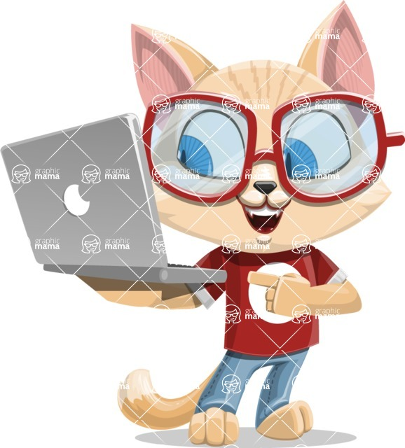 Kitten Cartoon Vector Character AKA Mew Catsby - Laptop 1