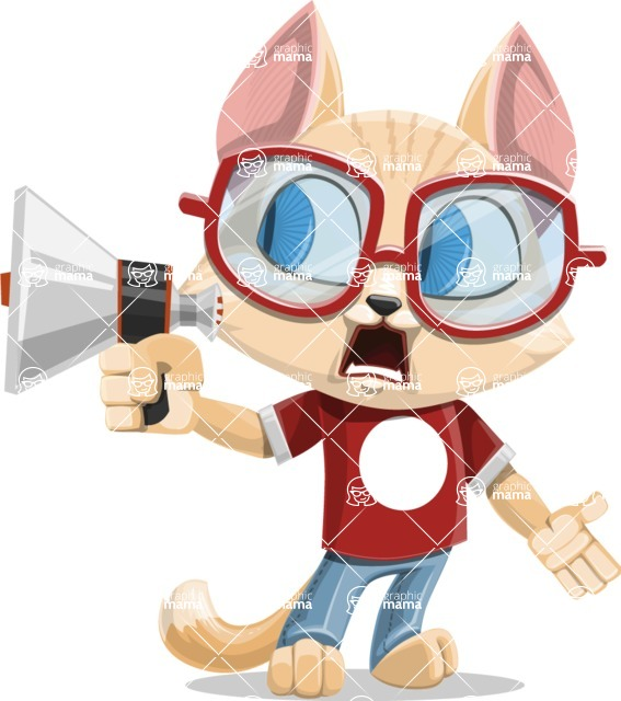 Kitten Cartoon Vector Character AKA Mew Catsby - Loudspeaker