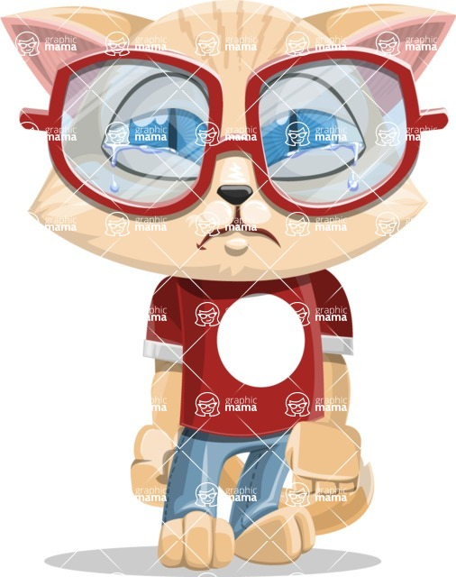 Kitten Cartoon Vector Character AKA Mew Catsby - Sad