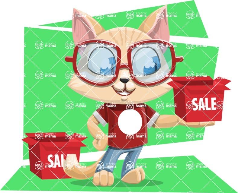 Kitten Cartoon Vector Character AKA Mew Catsby - Shape 12