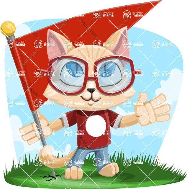 Kitten Cartoon Vector Character AKA Mew Catsby - Shape 9
