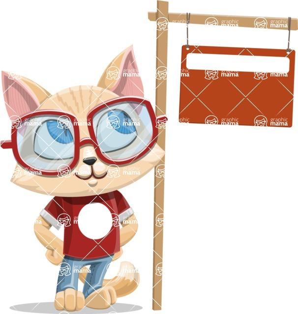 Kitten Cartoon Vector Character AKA Mew Catsby - Sign 9