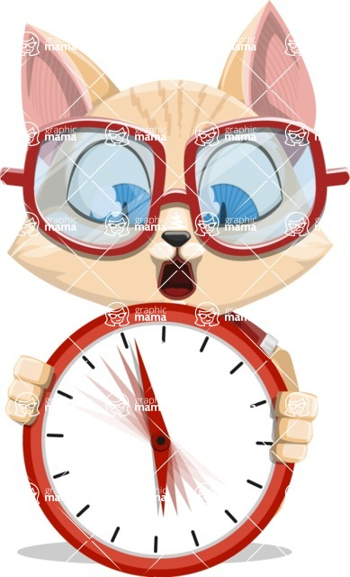 Kitten Cartoon Vector Character AKA Mew Catsby - Time is Yours