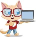 Kitten Cartoon Vector Character AKA Mew Catsby - Laptop 3
