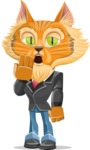 Wild Cat Businessman Cartoon Vector Character AKA Mr. Furrington - Bored
