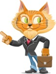 Wild Cat Businessman Cartoon Vector Character AKA Mr. Furrington - Briefcase 2