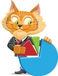 Wild Cat Businessman Cartoon Vector Character AKA Mr. Furrington - Chart