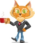 Wild Cat Businessman Cartoon Vector Character AKA Mr. Furrington - Coffee