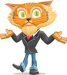 Wild Cat Businessman Cartoon Vector Character AKA Mr. Furrington - Confused