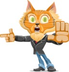 Wild Cat Businessman Cartoon Vector Character AKA Mr. Furrington - Direct Attention