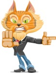 Wild Cat Businessman Cartoon Vector Character AKA Mr. Furrington - DirectAttention 2