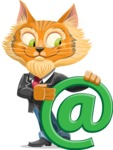 Wild Cat Businessman Cartoon Vector Character AKA Mr. Furrington - Email