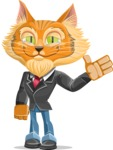 Wild Cat Businessman Cartoon Vector Character AKA Mr. Furrington - GoodBye