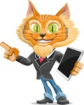 Wild Cat Businessman Cartoon Vector Character AKA Mr. Furrington - iPad 3