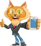 Wild Cat Businessman Cartoon Vector Character AKA Mr. Furrington - iPhone