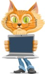 Wild Cat Businessman Cartoon Vector Character AKA Mr. Furrington - Laptop 2
