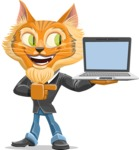 Wild Cat Businessman Cartoon Vector Character AKA Mr. Furrington - Laptop 3