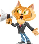 Wild Cat Businessman Cartoon Vector Character AKA Mr. Furrington - Loudspeaker