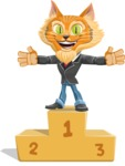 Wild Cat Businessman Cartoon Vector Character AKA Mr. Furrington - On Top