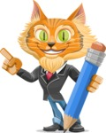 Wild Cat Businessman Cartoon Vector Character AKA Mr. Furrington - Pencil