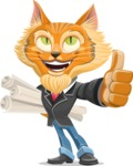 Wild Cat Businessman Cartoon Vector Character AKA Mr. Furrington - Plans
