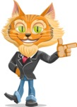 Wild Cat Businessman Cartoon Vector Character AKA Mr. Furrington - Point