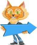 Wild Cat Businessman Cartoon Vector Character AKA Mr. Furrington - Pointer 2
