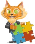 Wild Cat Businessman Cartoon Vector Character AKA Mr. Furrington - Puzzle