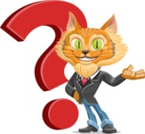 Wild Cat Businessman Cartoon Vector Character AKA Mr. Furrington - Question