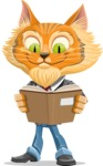 Wild Cat Businessman Cartoon Vector Character AKA Mr. Furrington - Reading a Book