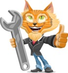 Wild Cat Businessman Cartoon Vector Character AKA Mr. Furrington - Repair