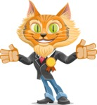 Wild Cat Businessman Cartoon Vector Character AKA Mr. Furrington - Ribbon