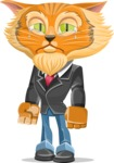 Wild Cat Businessman Cartoon Vector Character AKA Mr. Furrington - Sad