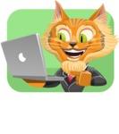 Wild Cat Businessman Cartoon Vector Character AKA Mr. Furrington - Shape 2