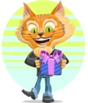 Wild Cat Businessman Cartoon Vector Character AKA Mr. Furrington - Shape 8