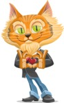 Wild Cat Businessman Cartoon Vector Character AKA Mr. Furrington - Show Love