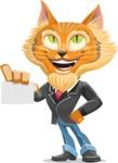 Wild Cat Businessman Cartoon Vector Character AKA Mr. Furrington - Sign 1