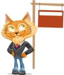 Wild Cat Businessman Cartoon Vector Character AKA Mr. Furrington - Sign 9