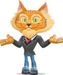 Wild Cat Businessman Cartoon Vector Character AKA Mr. Furrington - Sorry