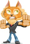 Wild Cat Businessman Cartoon Vector Character AKA Mr. Furrington - Stop