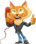 Wild Cat Businessman Cartoon Vector Character AKA Mr. Furrington - Support