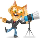 Wild Cat Businessman Cartoon Vector Character AKA Mr. Furrington - Telescope
