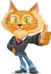 Wild Cat Businessman Cartoon Vector Character AKA Mr. Furrington - Thumbs Up
